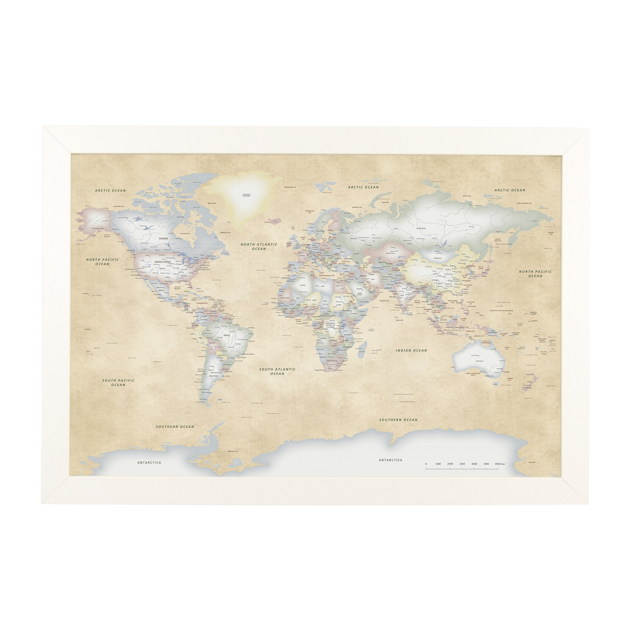 Push Pin Travel Maps Perfectly Pastel World with Textured White Frame and Pins 24 x 36 by Push Pin Travel Maps