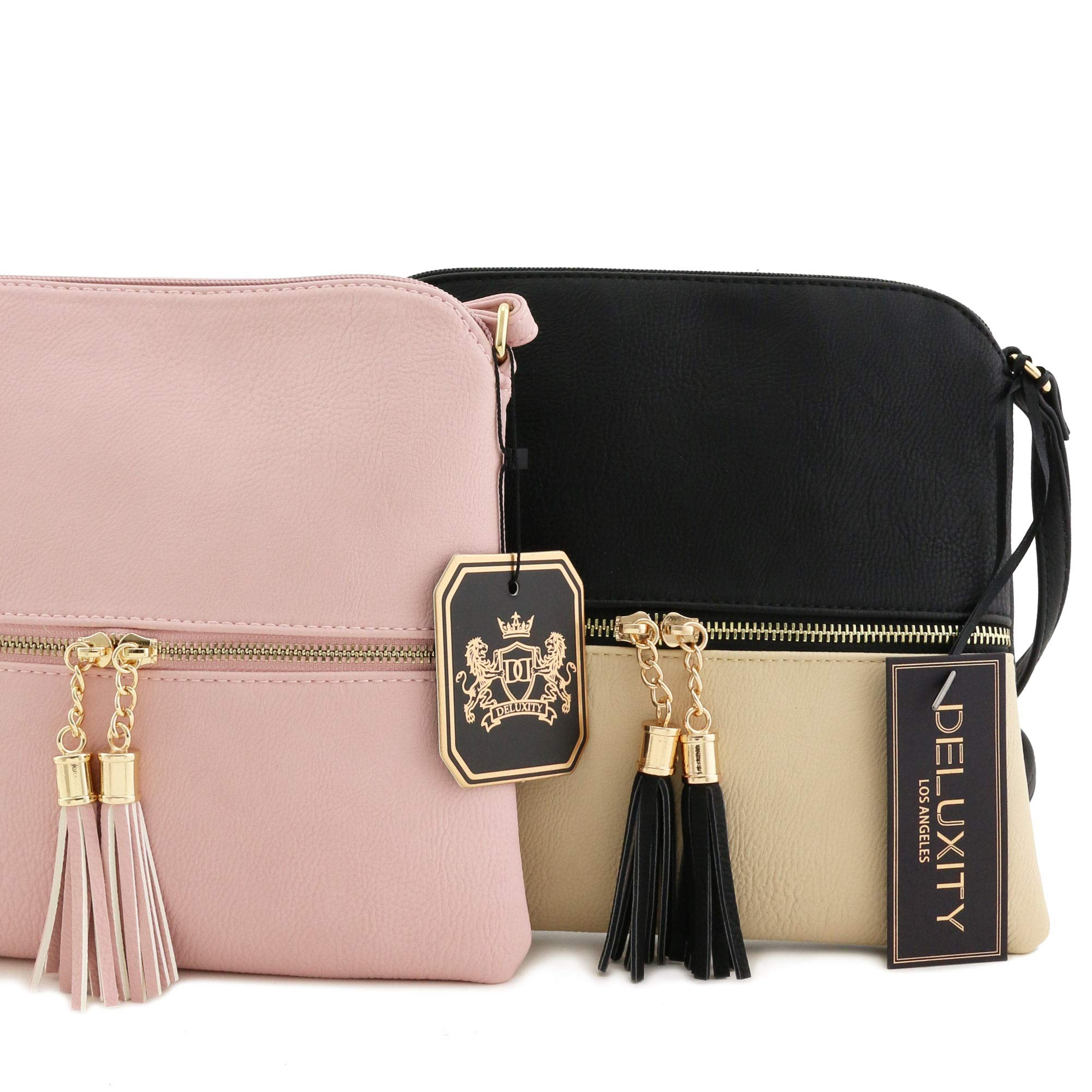 Lightweight Colorblock Medium Crossbody Bag with Tassel (Blush/White) by DELUXITY (Image #7)