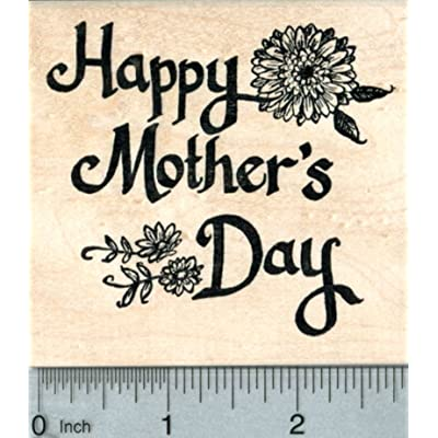 Happy Mother's Day Rubber Stamp, Text with Flowers: Arts, Crafts & Sewing