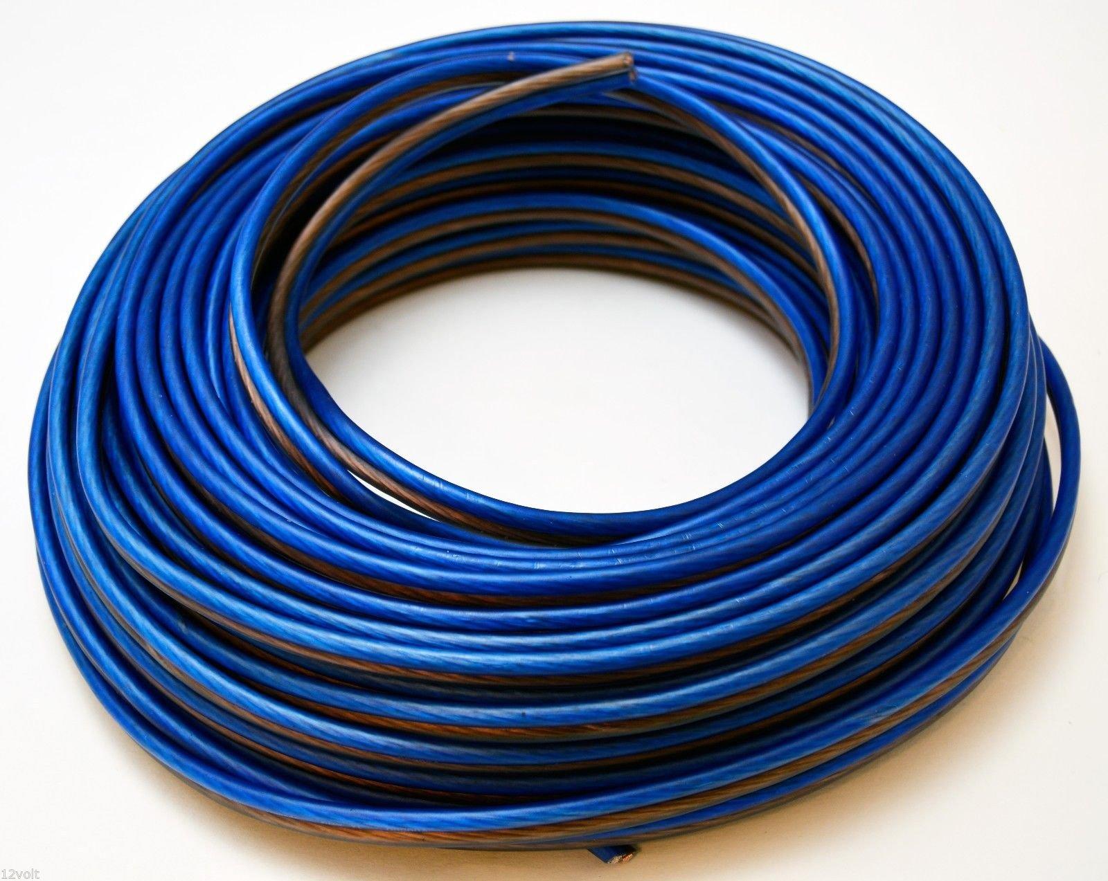VOODOO Blue/Black Speaker Wire 14 Gauge Stranded Car Audio (250 FT)