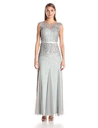 Amazon.com: Adrianna Papell Women's Long Beaded Gown with