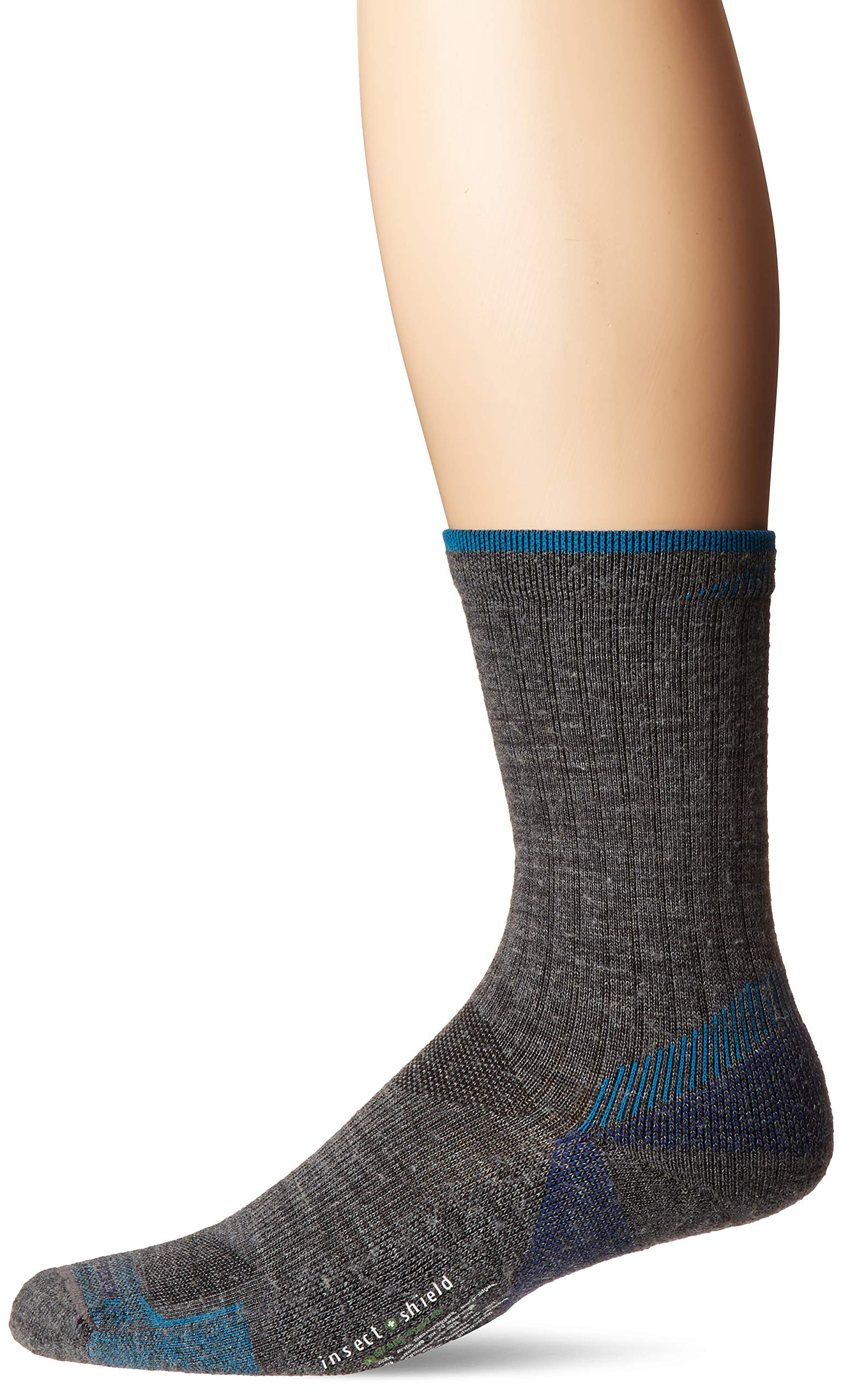 ExOfficio Women's BugsAway Solstice Canyon Crew Sock, Grey Heather/Algiers Blue, Medium/Large by ExOfficio