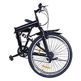 Mophorn 26 inch Mountain Bike Shimano Carbon Steel Folding Bike 6/7 Speed Mountain Bikes Full Suspension for Men and Women