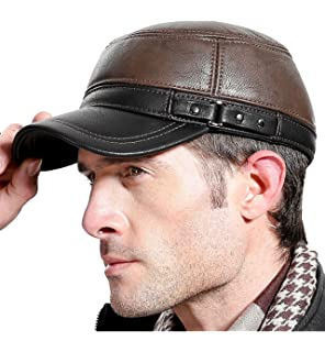 7777041d857 Sumolux Winter Mens Leather Cap with Earflap Military Cadet Army Flat Top  Hat