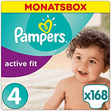 1 x 168 Stück Maxi 8-16kg Pampers Active Fit Windeln,Gr.4 1er Pack Monatsbox