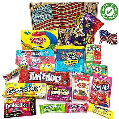 Heavenly Sweets Cesta de Golosinas Vegetarianas Americanos - Selección de Golosinas y Chocolates de EE.UU. - Regalo de Navidad, Cumpleaños, San ...