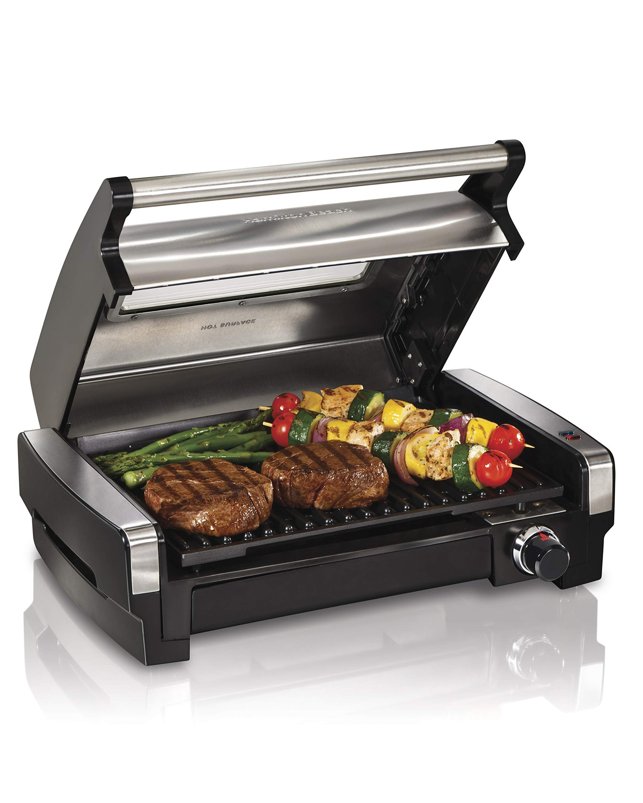 Hamilton Beach 25361 Electric Indoor Searing Grill with Removable Easy-to-Clean Nonstick Plate, Viewing Window, Stainless Steel (Renewed) by Hamilton Beach