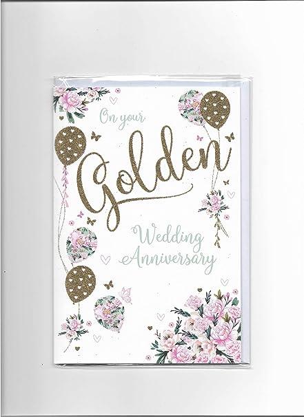 Tarjeta de 50 aniversario de boda dorada: Amazon.es: Oficina y ...