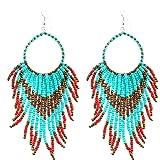Long Tribal Dangle Fringe Tassel Bead & Hoop Earrings Native American Style by Pashal