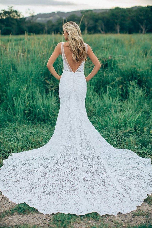 Dressyu Lace Mermaid Garden Wedding Dresses Pocket Rustic Country ...