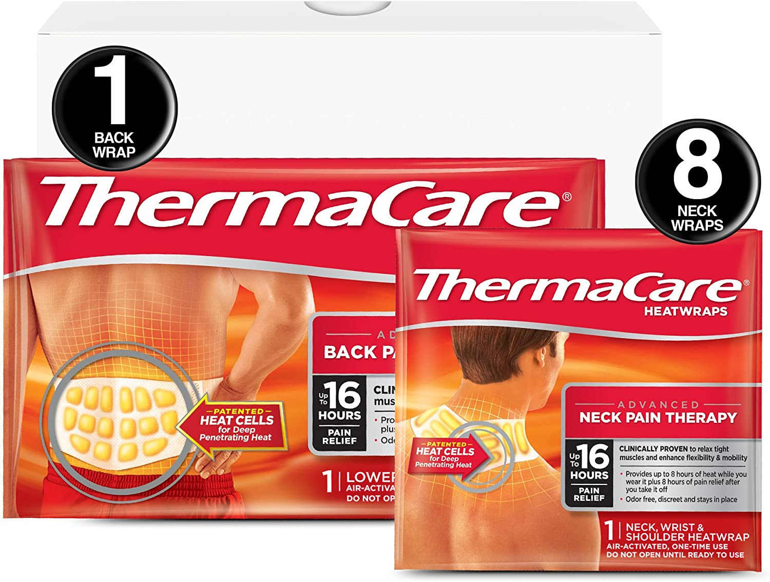 Amazon.com: ThermaCare Advanced Neck Pain and Back Pain (L-XL Size) Combo  Pack (8 Neck Wraps, 1 Back Wrap) Heatwraps, Up to 16 Hours of Pain Relief,  Neck & Wrist & Shoulder Use,