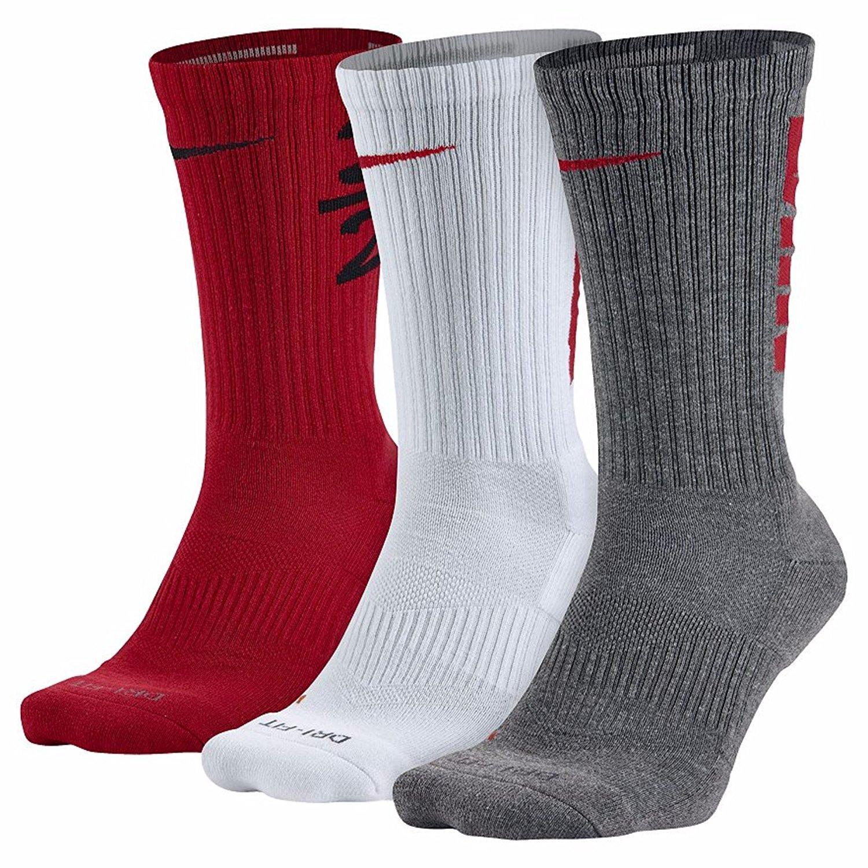 Nike Mens Dri-Fit acolchada - 3 pares de calcetines de la tripulación (tamaños grandes: XL: 8-12 y 12-15): Amazon.es: Ropa y accesorios