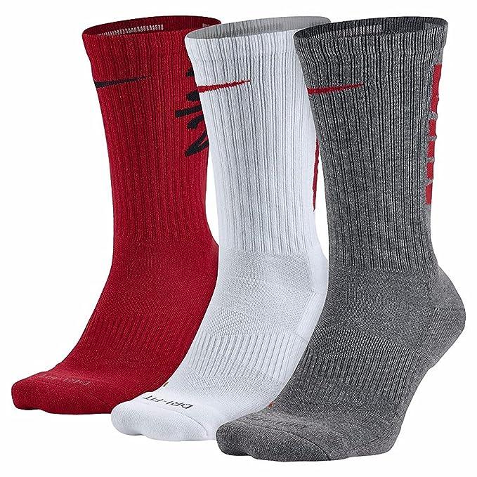 Nike Mens Dri-Fit acolchada - 3 pares de calcetines de la tripulación (tamaños