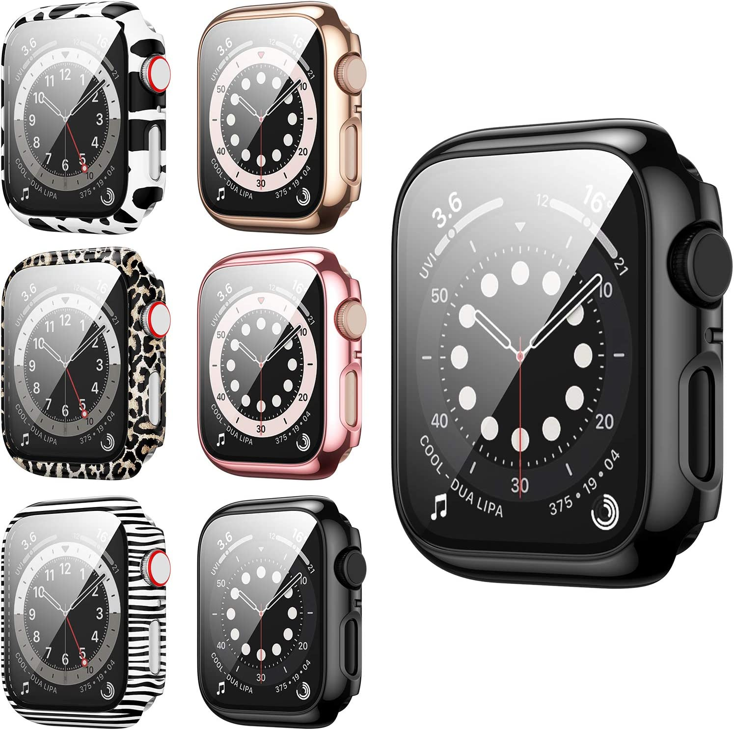 6 Pack Hard PC Case Compatible with Apple Watch Series 3/2/1 38mm, BHARVEST Case with Tempered Glass Screen Protector Overall Bubble-Free Cover for iWatch Accessories