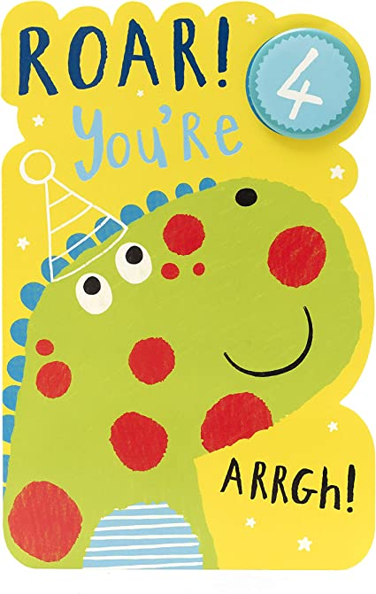 Pleasing Age 4 Birthday Card Dinosaur Ideal Gift Card For Kids Personalised Birthday Cards Paralily Jamesorg