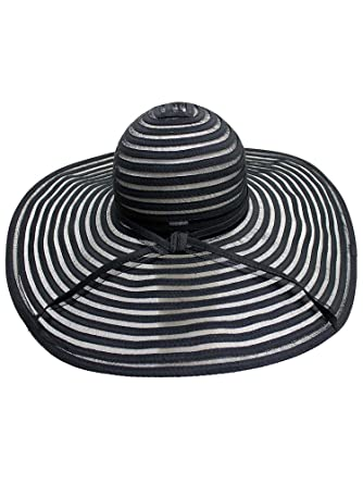 f704e000 Luxury Divas Black & Sheer Striped Wide Brim Floppy Hat at Amazon Women's  Clothing store: