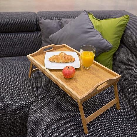 Amazon.com: SSLine Mesa de cama plegable de bambú, bandeja ...