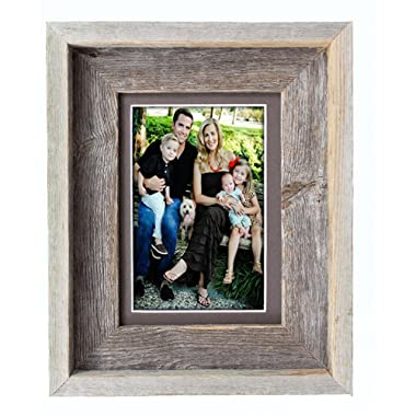 BarnwoodUSA 5 by 7 Inch Signature Picture Frame Matted for 4 by 6 Inch Photos- 100% Reclaimed Wood, Weather Wood Mat