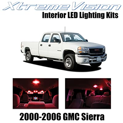 Xtremevision Interior LED for GMC Sierra 2000-2006 (16 Pieces) Red Interior LED Kit + Installation Tool: Automotive