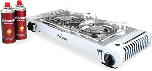Vulcanus LMSD-5800 Portable Double Burner Gas Stove.26 x11.3 x5 Gas-1 Butane Gas Cartridge 2-CAN
