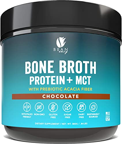 Bean Envy Bone Broth Protein Powder MCT Oil Prebiotic Acacia Fiber for Joint Protection, Better Digestion, Energy Boost, Weight Loss, and Sleep - Chocolate