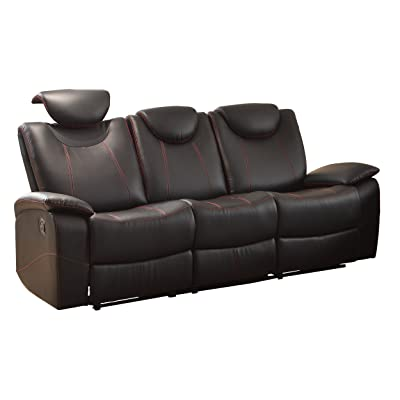 Homelegance Reclining Sofa Faux Leather, Black
