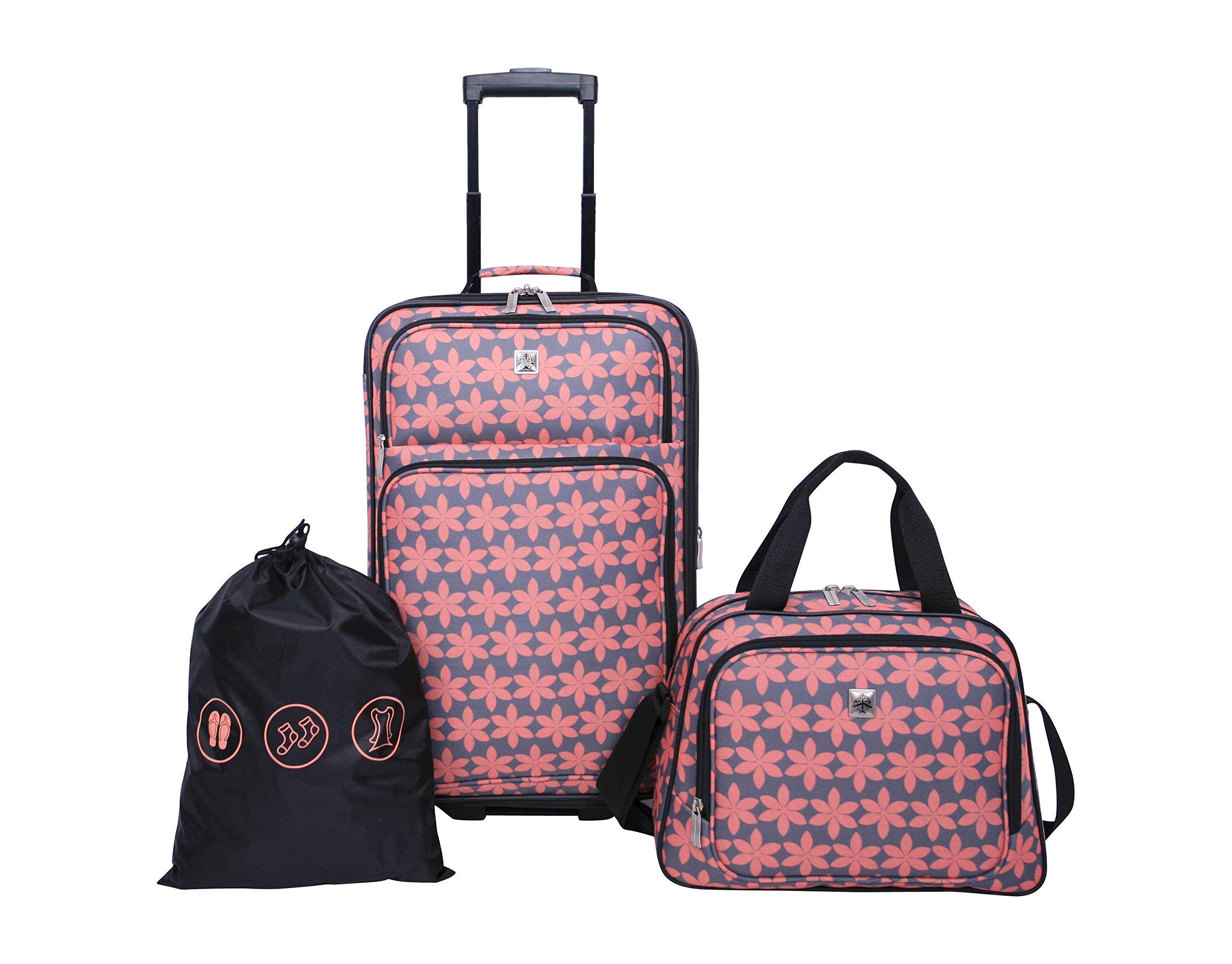 Skyline 3pc Softside Luggage Set - Gray Floral Print