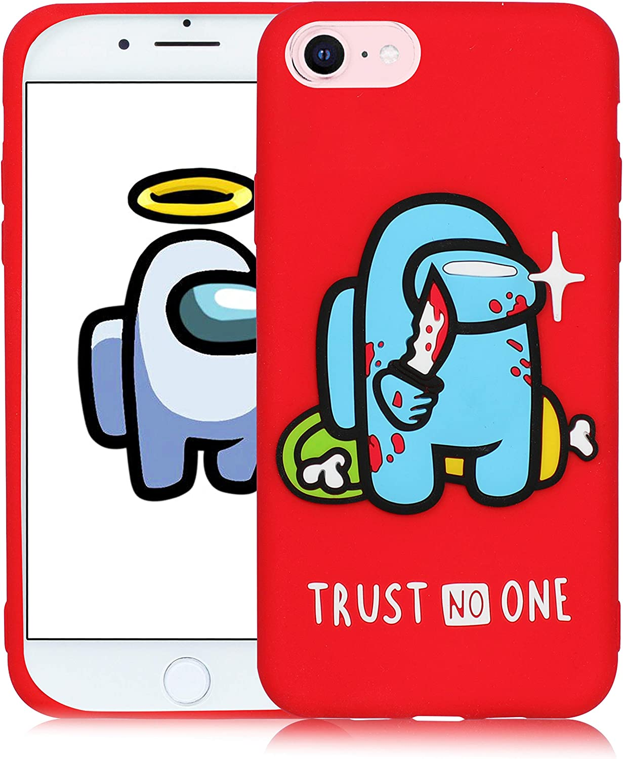 Oqplog Case for iPhone 7/8/6S/6/SE 2020 Cartoon Cute 3D Kawaii Fun Red Star Kids Design Silicone Cover,Cool Funny Fashion Cases for iPhone 7/8/6S/6/SE 2020 4.7