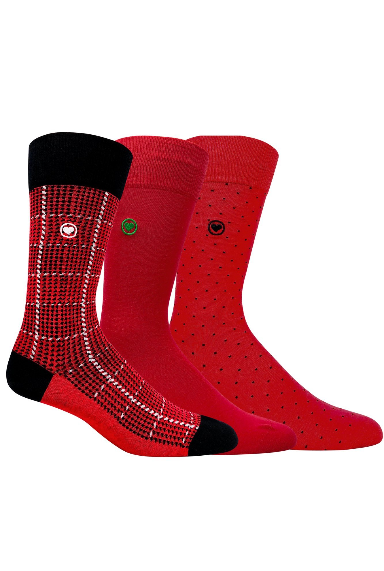 Men's dress socks bundle. Red socks. 3 pack premium super soft mens organic cotton patterned dress socks