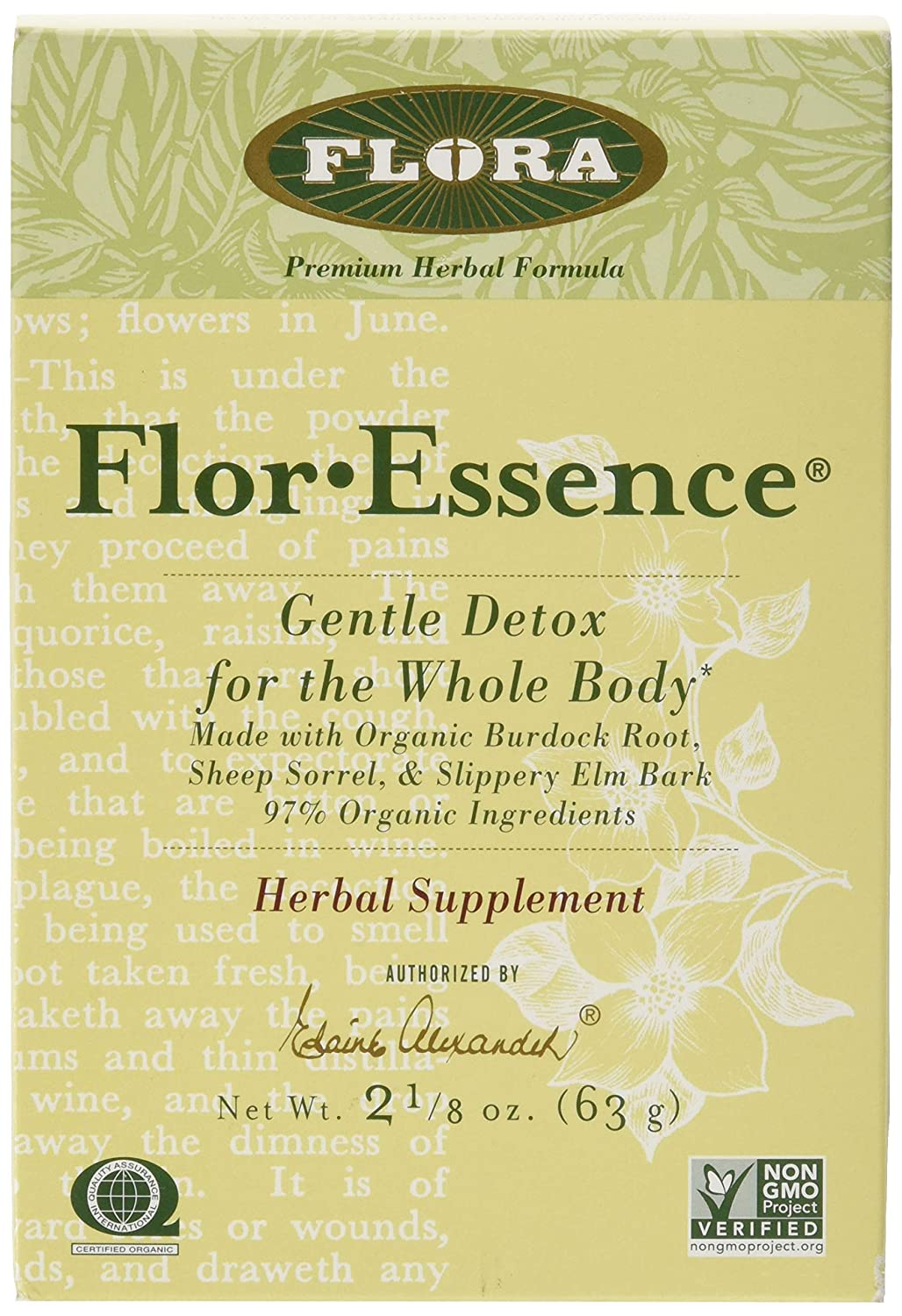 Flor Essence Detox Dry Tea Blend – Gentle Daily Herbal Cleanse – All Natural 90 Organic Ingredients – 2 1 8 oz – by Flora
