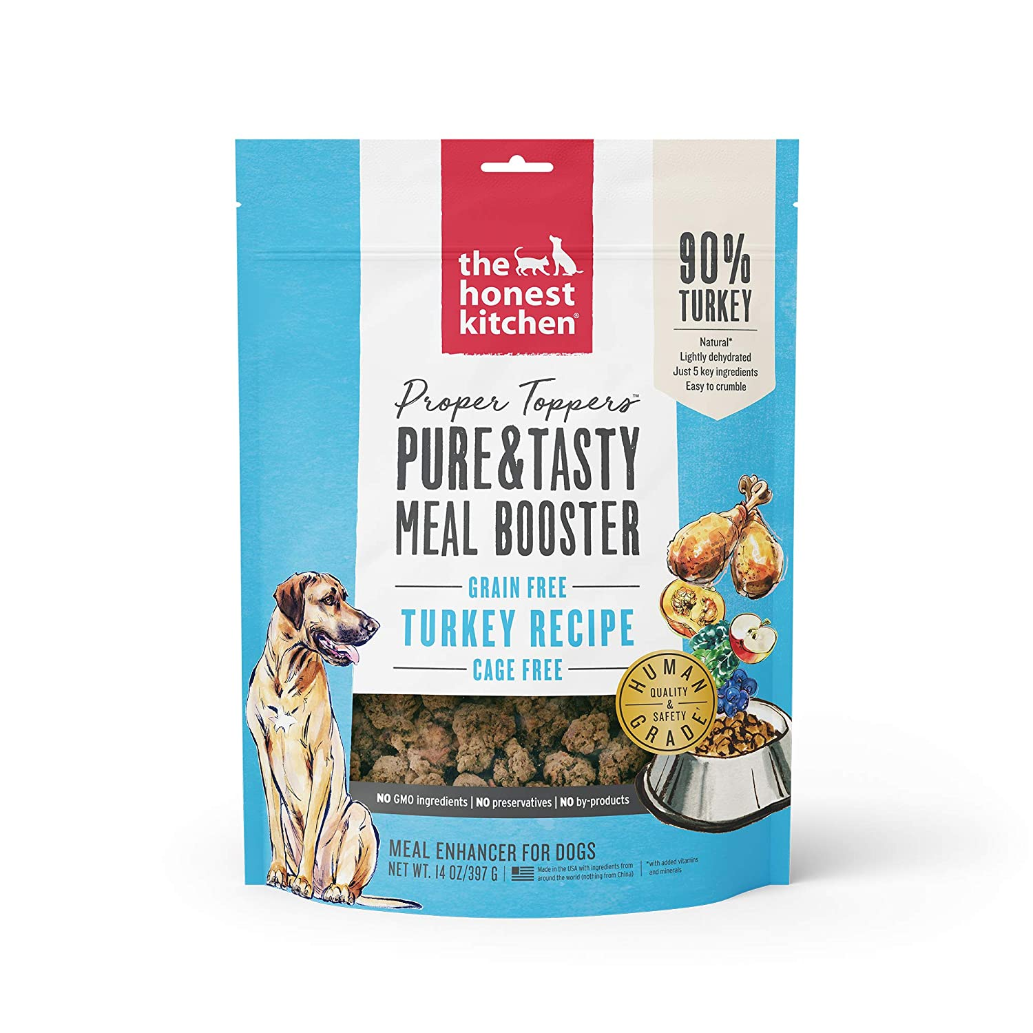 Honest Kitchen Proper Toppers: Natural Human Grade Dehydrated Dog Superfood - Cage Free Turkey