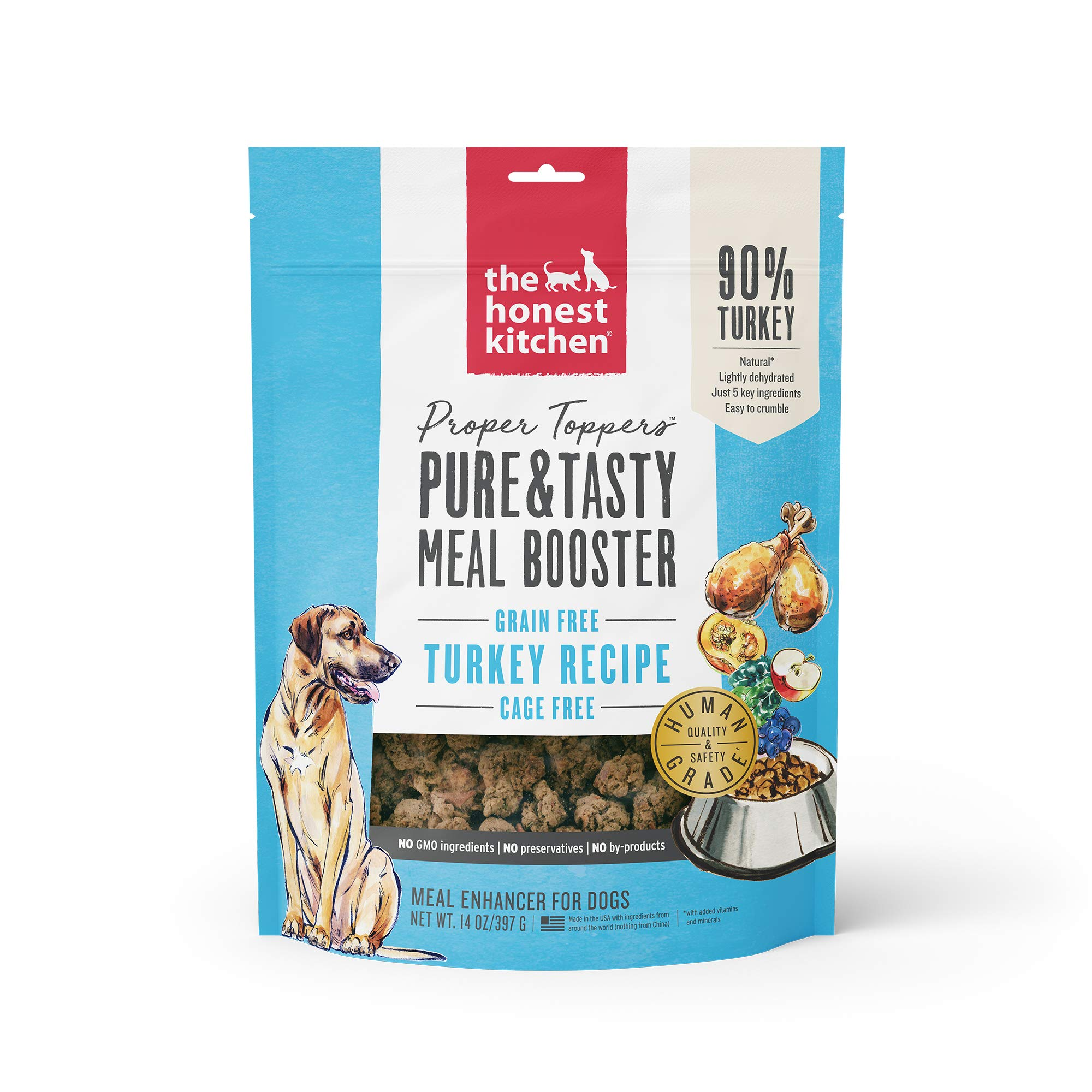 Honest Kitchen Proper Toppers: Natural Human Grade Dehydrated Dog Superfood - Cage Free Turkey by Honest Kitchen