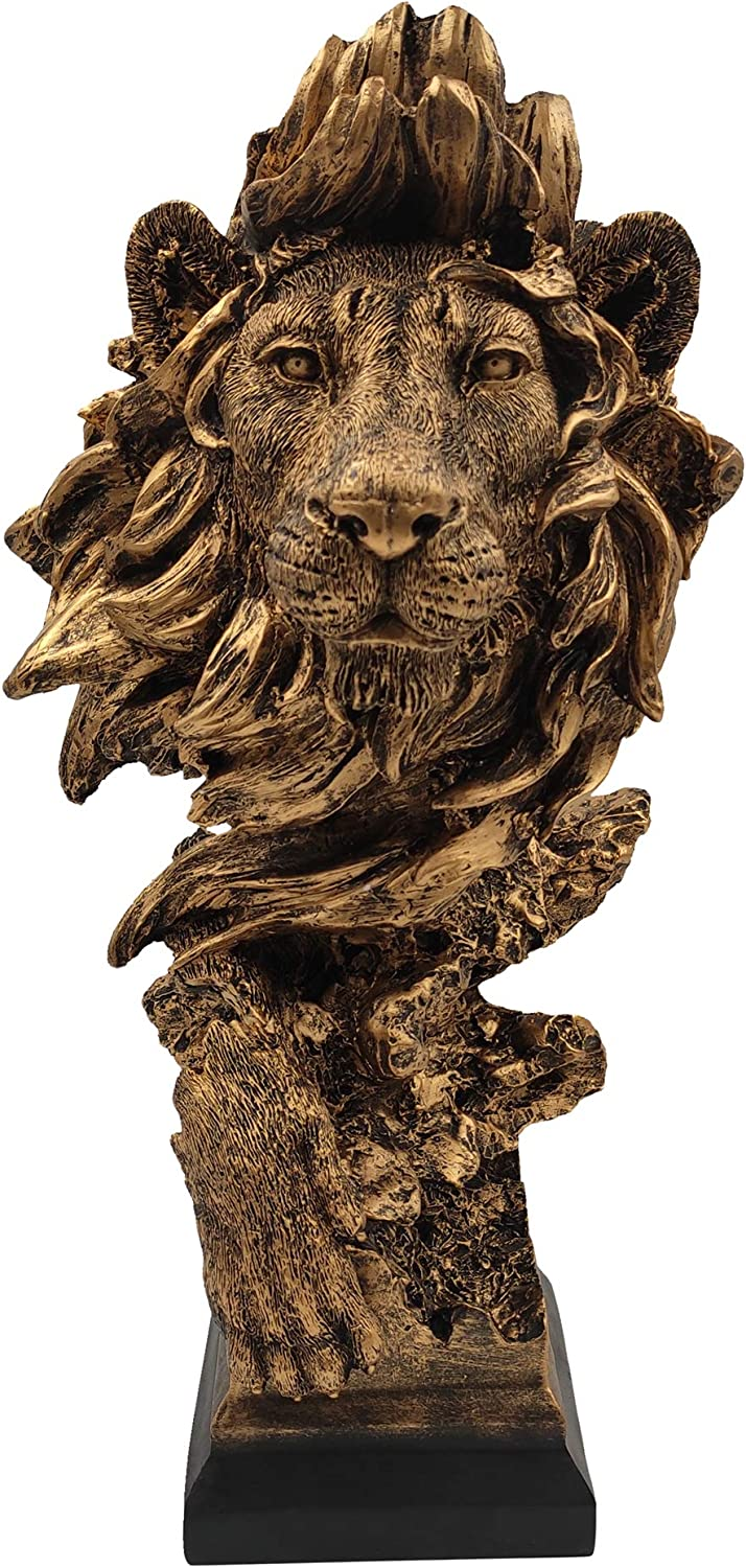 LOOYAR Resin Lion Statue Sculpture Ornament Collectible Figurine Craft Furnishing for Home Décor Farm House Living Room Porch Decoration Office Desk Desktop Table Wine Cabinet Arrangement Gift, Copper