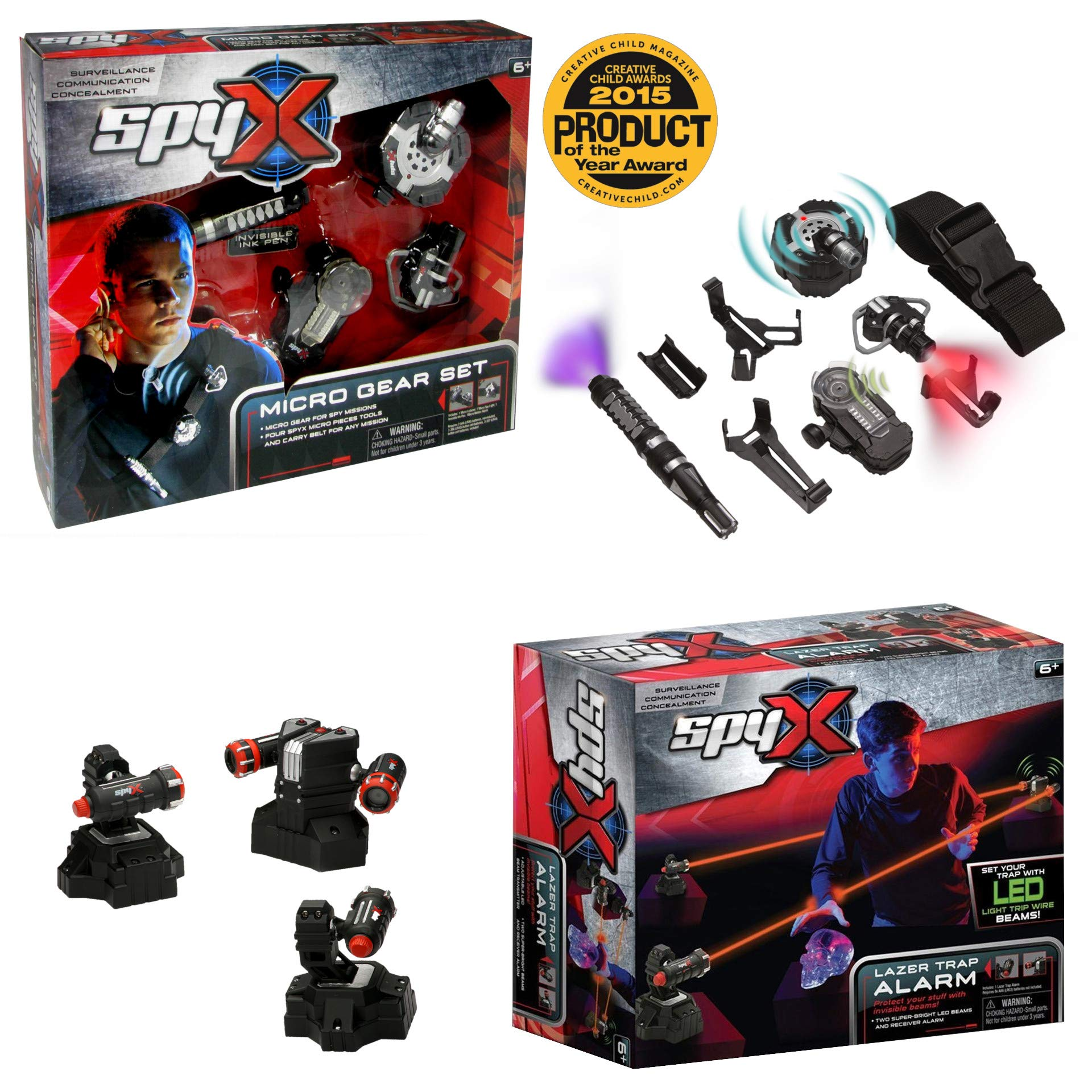 SpyX / Micro Gear Set + Lazer Trap Alarm - 4 Must-Have Spy Tools Attached to an Adjustable Belt + Invisible LED Beam Barrier & Alarm! Jr Spy Fan Favorite & Perfect for Your Spy Gear Collection! by MUKIKIM