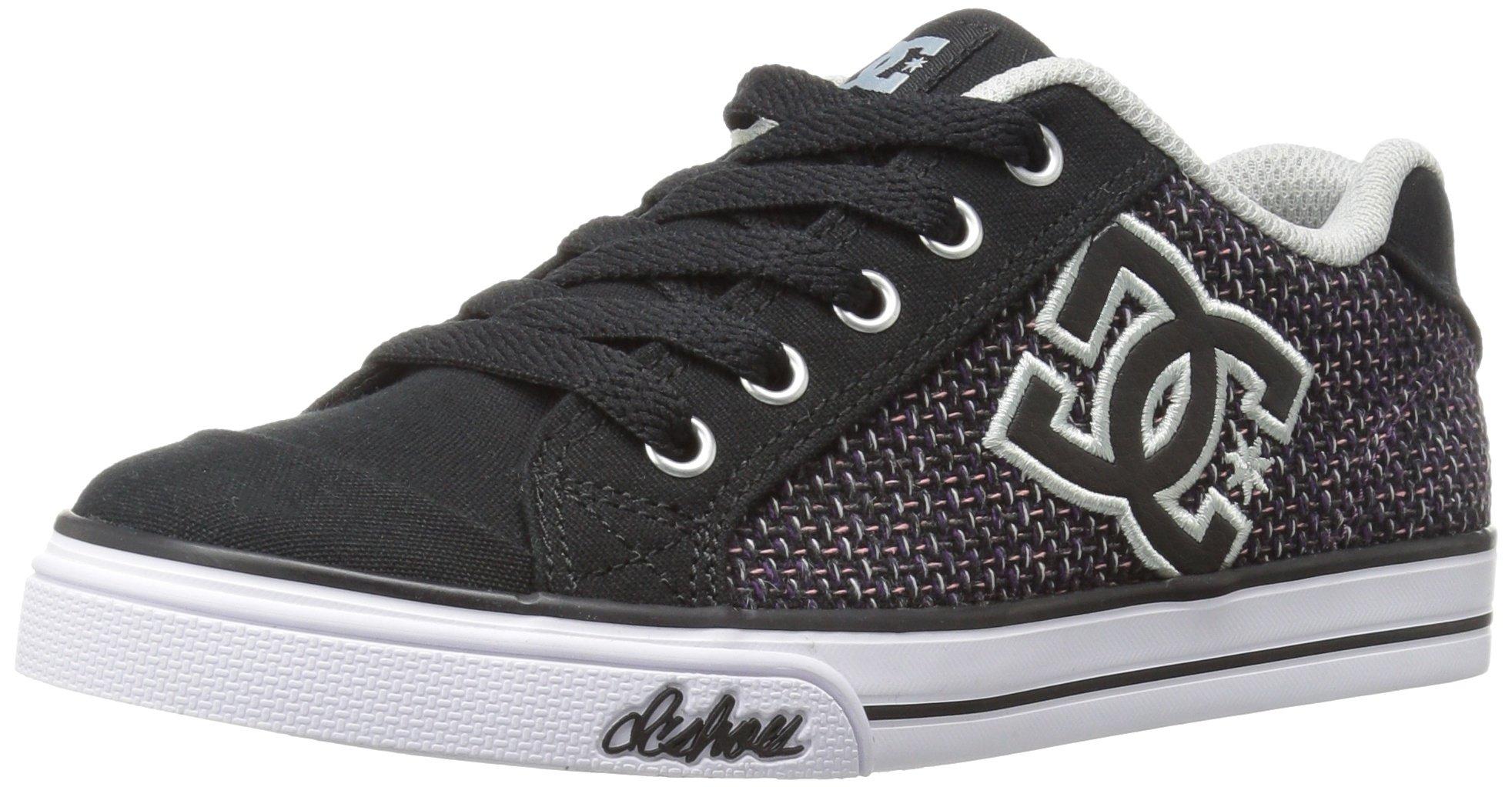 DC Girls Youth Chelsea SE Skate Shoes Sneaker, Black/White/Pink, 1.5 M US Little Kid