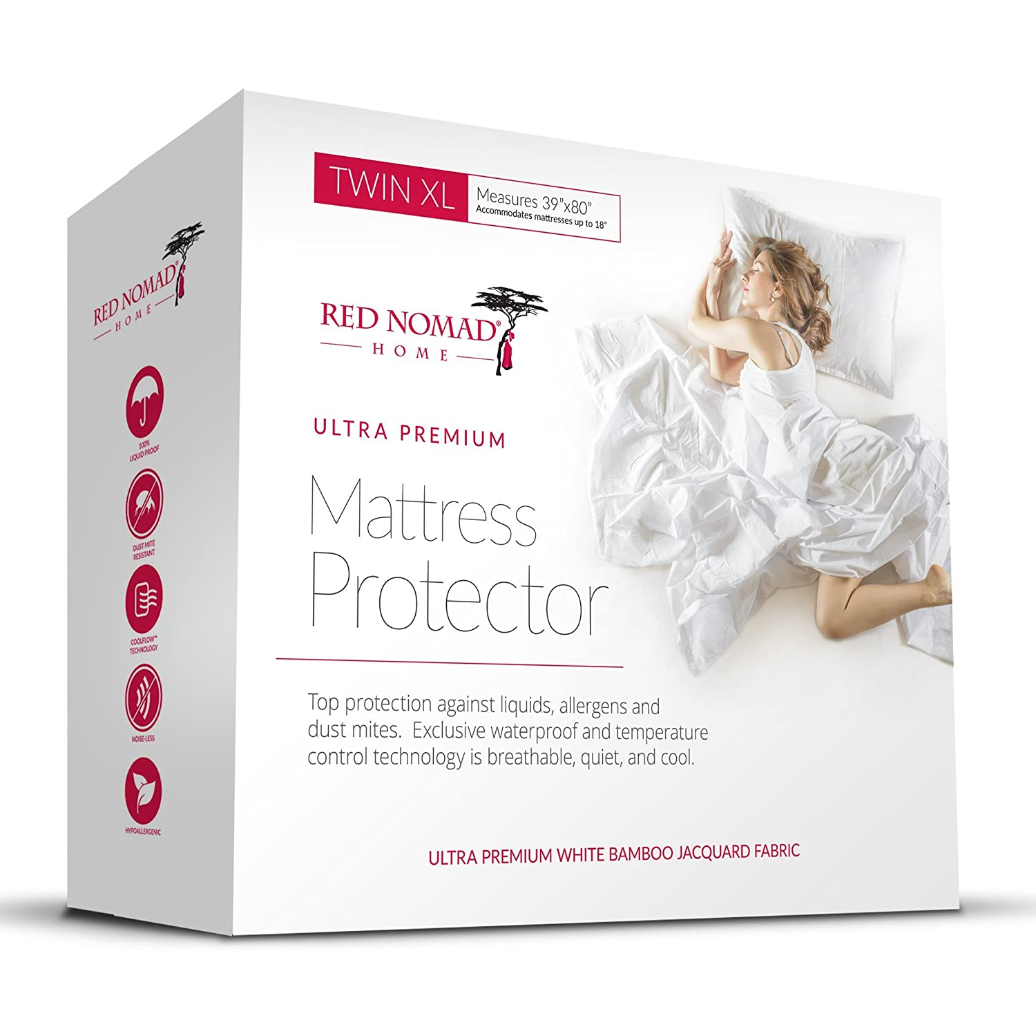 Red Nomad Bamboo Hypoallergenic Mattress Protector Breathable Cool Cycle Technology for Maximum Circulation & Comfort - Twin XL Size