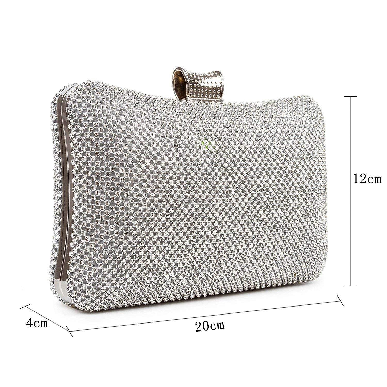Bolso de Noche Vestido,Embrague de Diamantes de imitación,Bolso de Cadena de Diamante,Bandolera del Hombro-A 20x4x12cm(8x2x5inch): Amazon.es: Equipaje