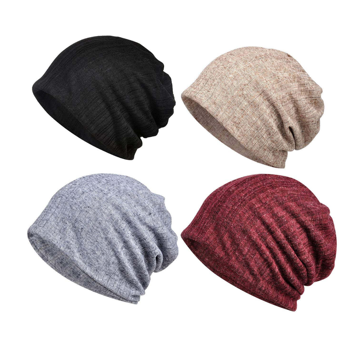 Cotton Fashion Beanies Chemo Caps Cancer Headwear Skull Cap Knitted hat Scarf for Womens Mens (4Pack-c)