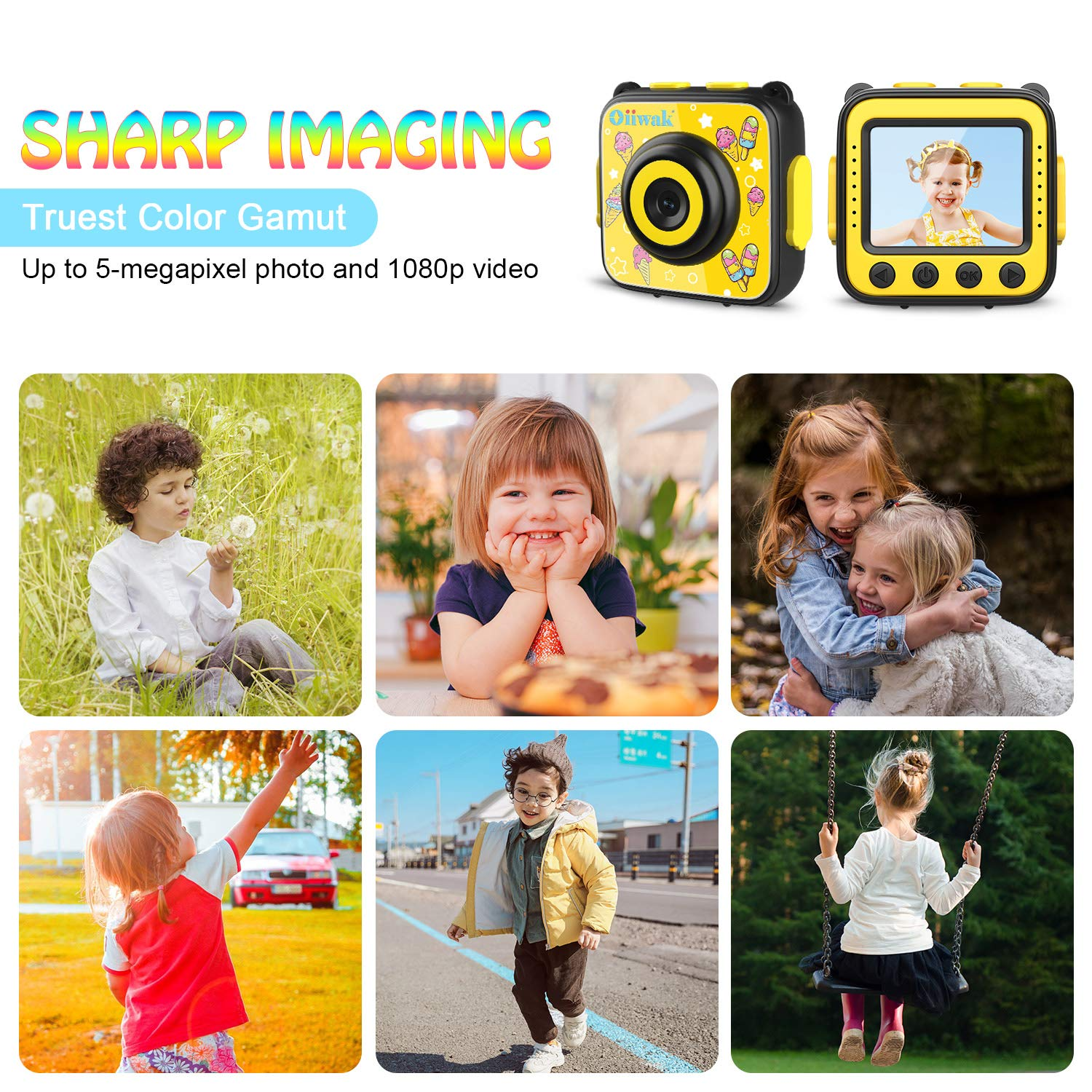 Kids Camera, Oiiwak Kids Video Camera Waterproof Toys for 3-10 Year Old Girls, 5.0 MP HD Digital Mini Camcorder for Children with 32GB Memory Card by Oiiwak (Image #3)