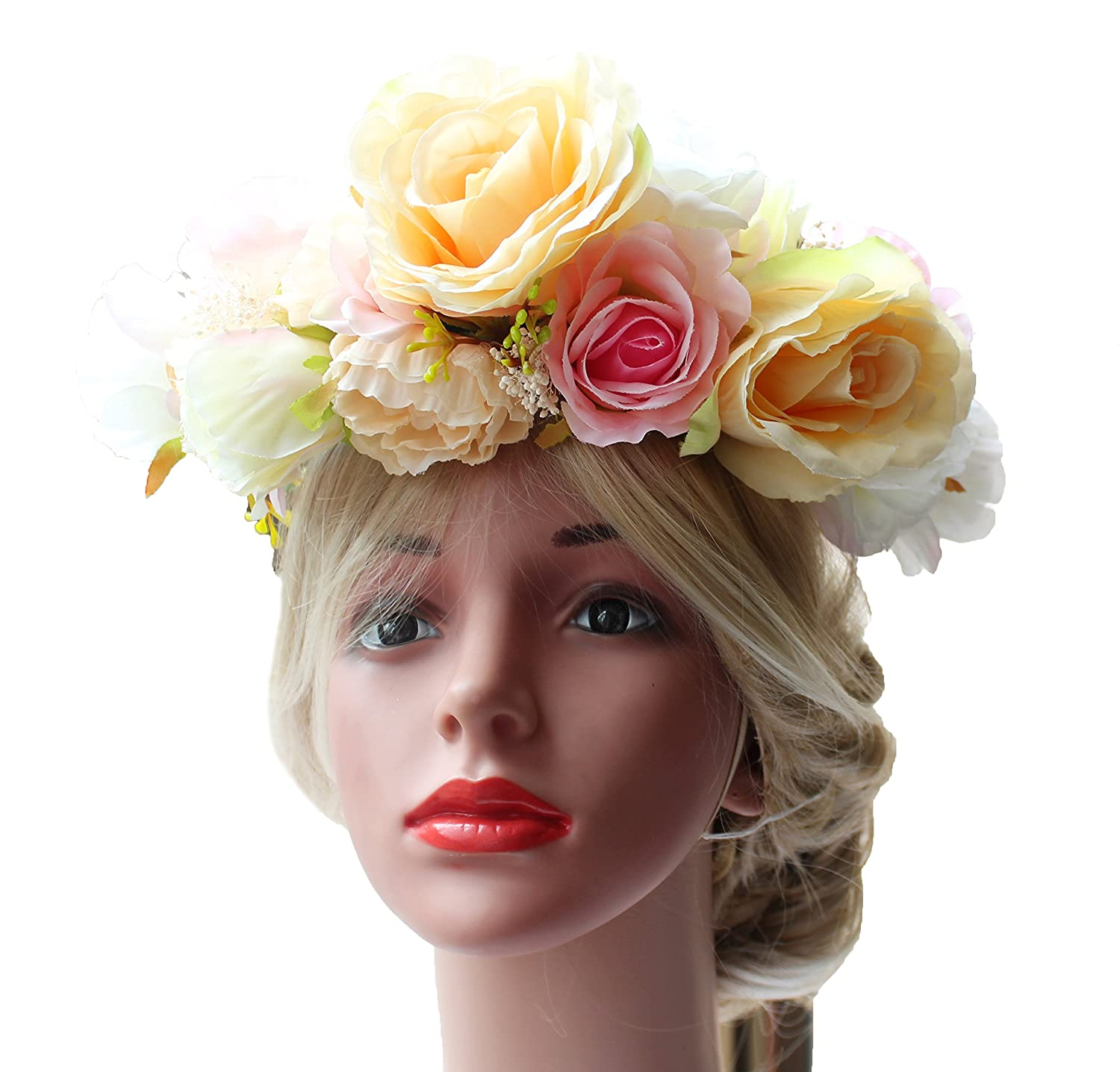 Amazon.com   LINFLL Exaggerated Big Flower Crown Wreath Headband Festival  Wedding Hair Floral Halo Headpiece with Ribbon Yellow   Beauty 70bef8d35ce