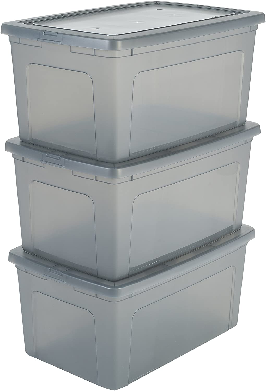 Iris Ohyama Modular Clear Box MCB-50 Lote de 3 Cajas de Almacenamiento con Tapa, 50L, 3