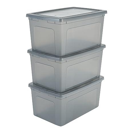 IRIS, 3er-Set Aufbewahrungsboxen / Kisten mit Deckel / Stapelboxen