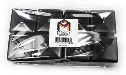 Prescott Plastics 8 Pack Square Black Vinyl End Cap Flexible Pipe Post Rubber Cover 1 50 1 1 2 Amazon Com