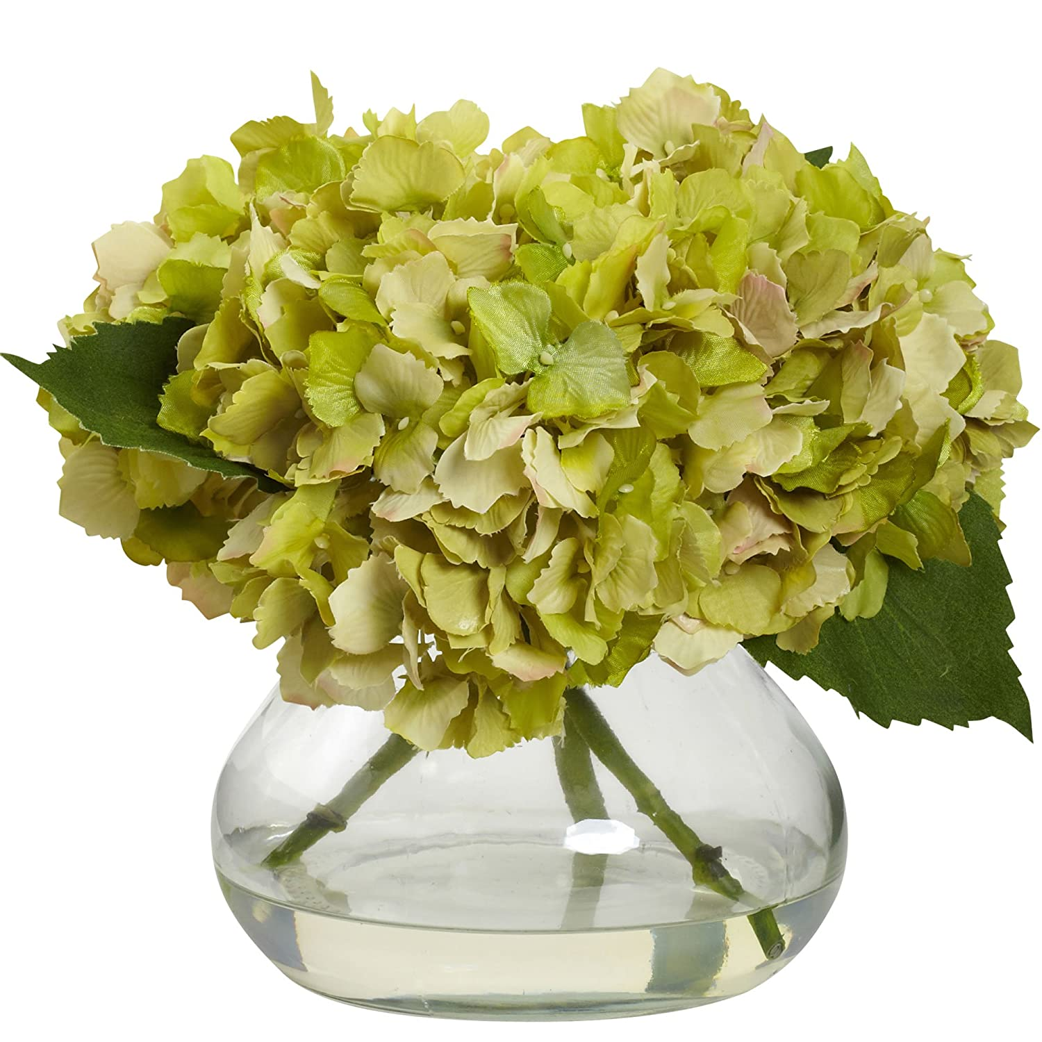 Blue Nearly Natural 1356-BL Blooming Hydrangea with Vase