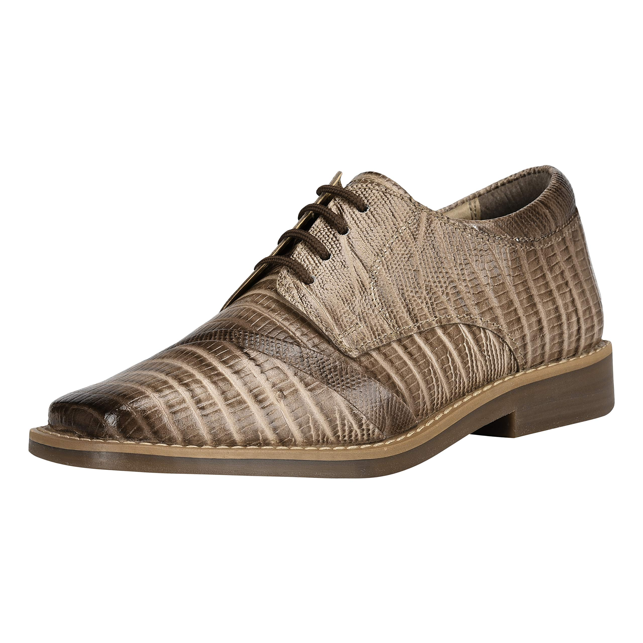 Liberty Boys Gliders Genuine Leather Crocodile Print Lace up Dress Shoes (Size 12 US/Age 4-8 Years/Little Kids, Beige)