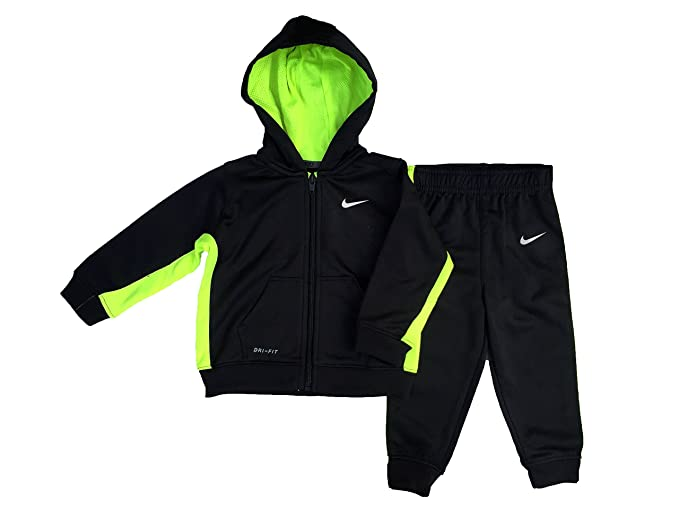 9a4599cce Amazon.com  Nike Baby Boys Black and Volt Zip-up Athletic Hoodie and ...