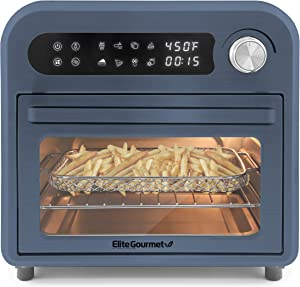 Maxi-Matic Programmable Air Fryer Convection Countertop Oven, 8 Menu Settings, Temperature + Timer Controls, Bake, Toast, Broil, Air Fry, 1500W with Recipes, Steel Exterior