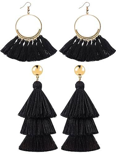 aac3cb00bd9d86 2 Pairs Tassel Earrings for Women Girls Handmade 3 Tiered Tassel Dangle  Earrings and Gold Hoop