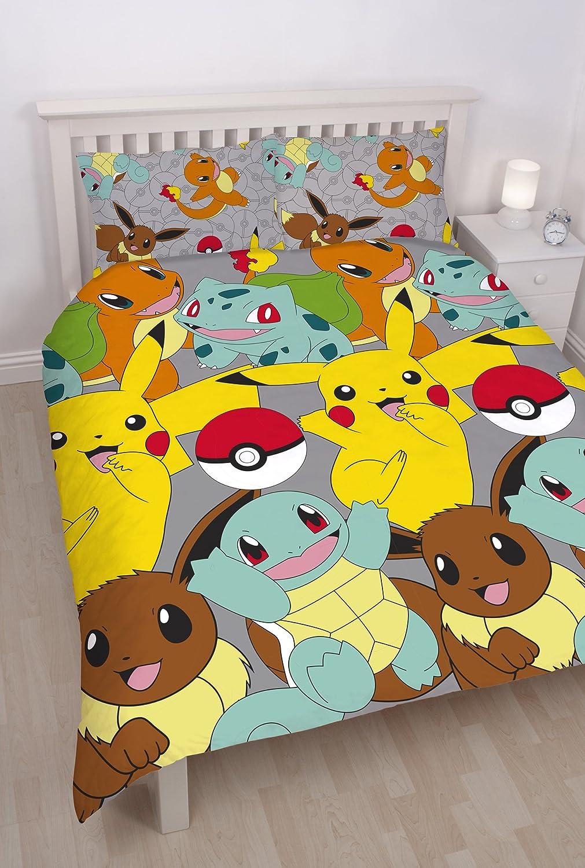 Pokemon Catch Repeat Print Design Duvet Set, Double, Microfibre, Multi-Colour 200 x 0.2 x 200 cm