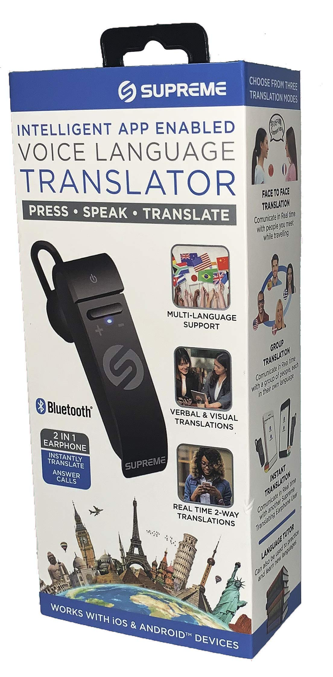 Portable Language Translator Device – Translate Headphone – Voice Translation Earpiece – Real Time Two-Way Translation Gadget – Bluetooth Multi-Language Support with 5 Modes & Call Answering by Supreme Tech (Image #2)